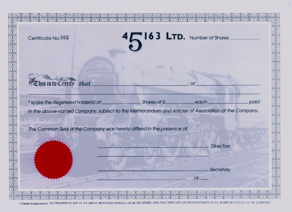 Black five 45163 restoration group example share certificate yadclub Image collections