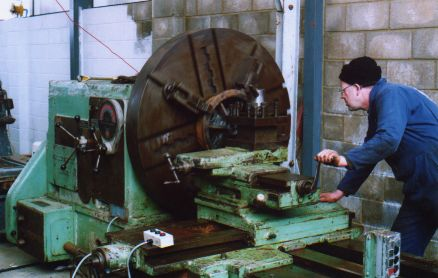 View of facing lathe